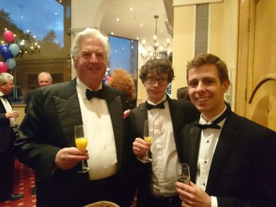Photograph of George Threlfall, Mike Blitz and Tom Cole at the Bristol Law Society Awards Dinner
