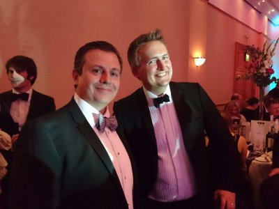 Photograph of James Dowse and Oli Foster at the Bristol Law Society Awards Dinner