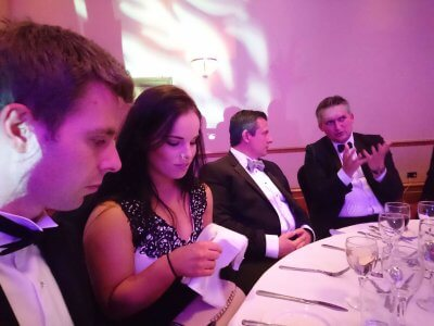 Photograph of Tom Cole, Jess Street, James Dowse and Oli Foster at the Bristol Law Society Awards Dinner