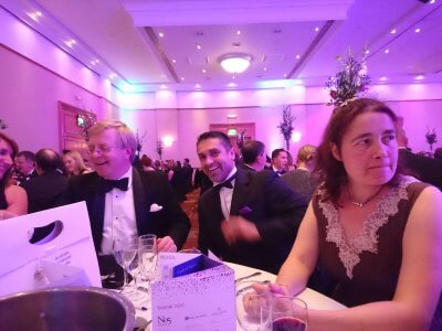 Photograph of Chris Taylor, Vijay Mehan and Louise Brown at the Bristol Law Society Awards Dinner