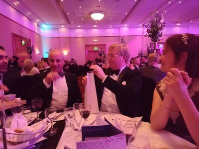 Photograph of Steve Freeman, Chris Taylor and Louise Brown at the Bristol Law Society Awards Dinner