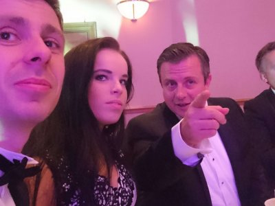 Photograph of Tom Cole, Jess Street and James Dowse at the Bristol Law Society Awards Dinner