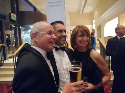 Photograph of Steve Freeman, Vijay Mehan and Lynn at the Bristol Law Society Awards Dinner